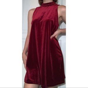 Velvet Red High Neck Dress